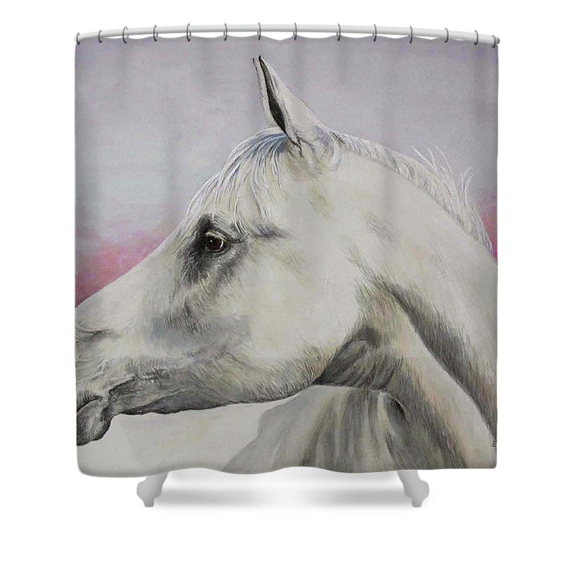 Horse Shower Curtain featuring the painting White Horse- Arabian by Elaine Booth-Kallweit