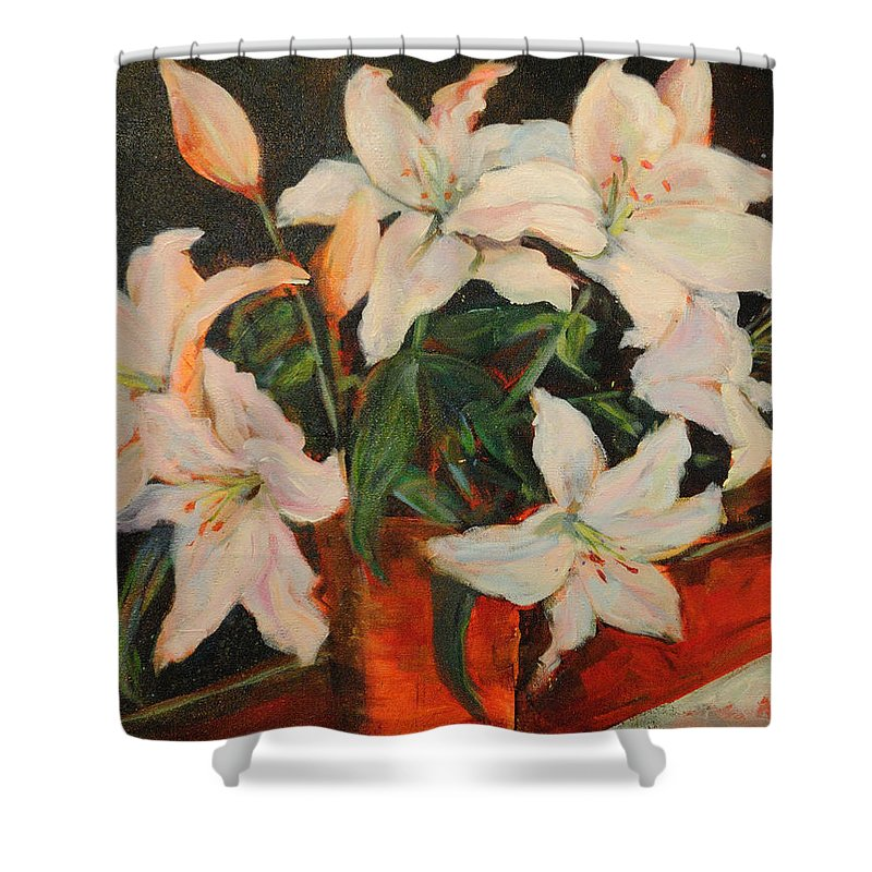 Floral Shower Curtain featuring the painting White Lilies by Nanci Cook