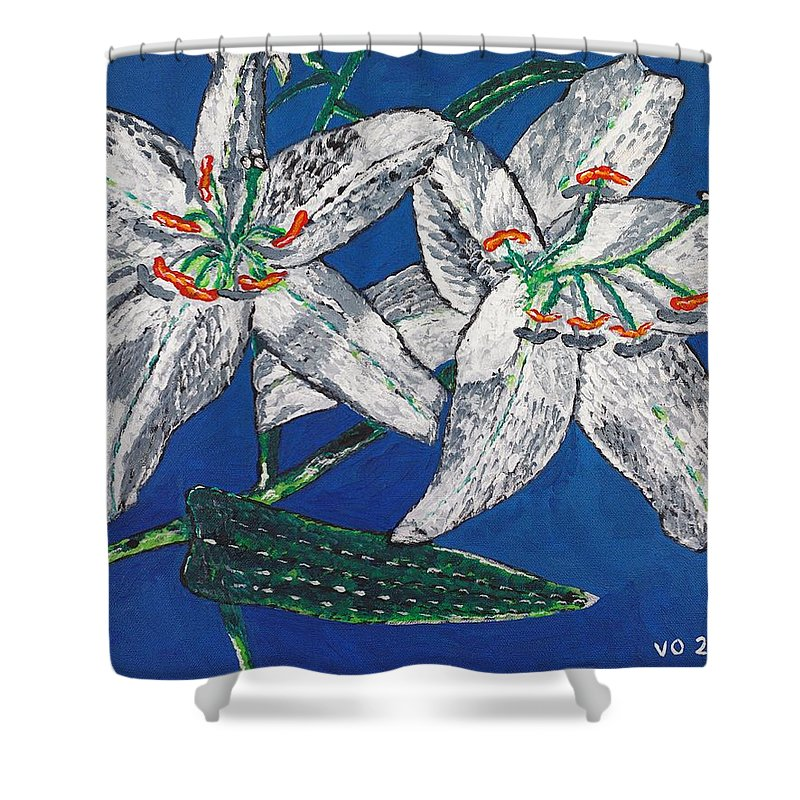 Flower Shower Curtain featuring the painting White Lilies by Valerie Ornstein