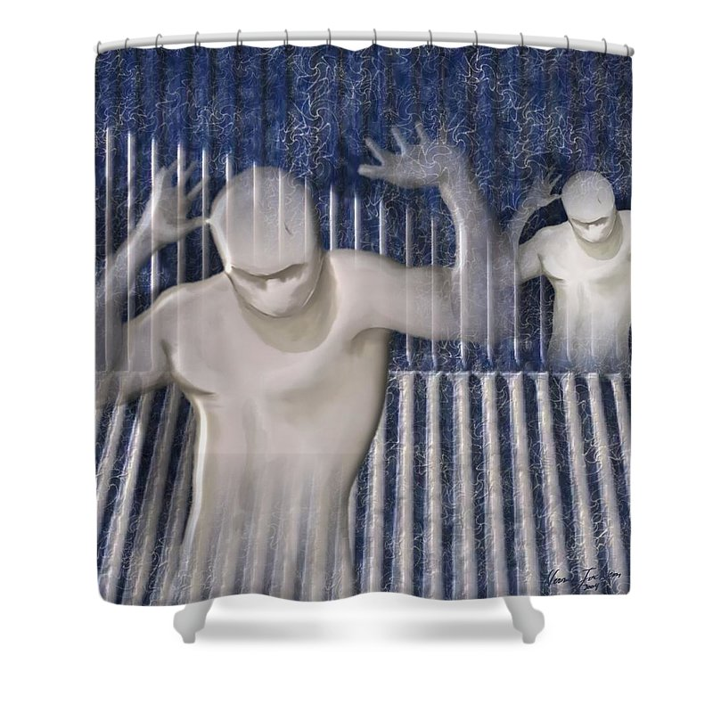Drugs Prison Waste Fear Hell Shower Curtain featuring the mixed media White Lines by Veronica Jackson