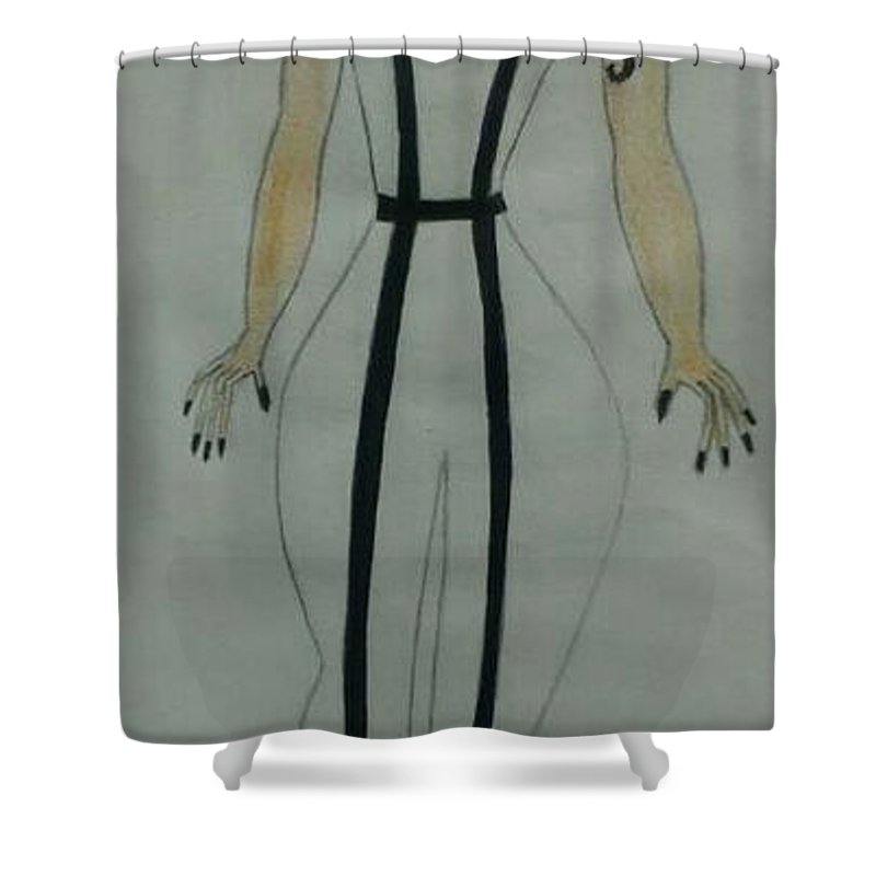 Fashion Shower Curtain featuring the drawing White Midnight by Vivianne Mumani