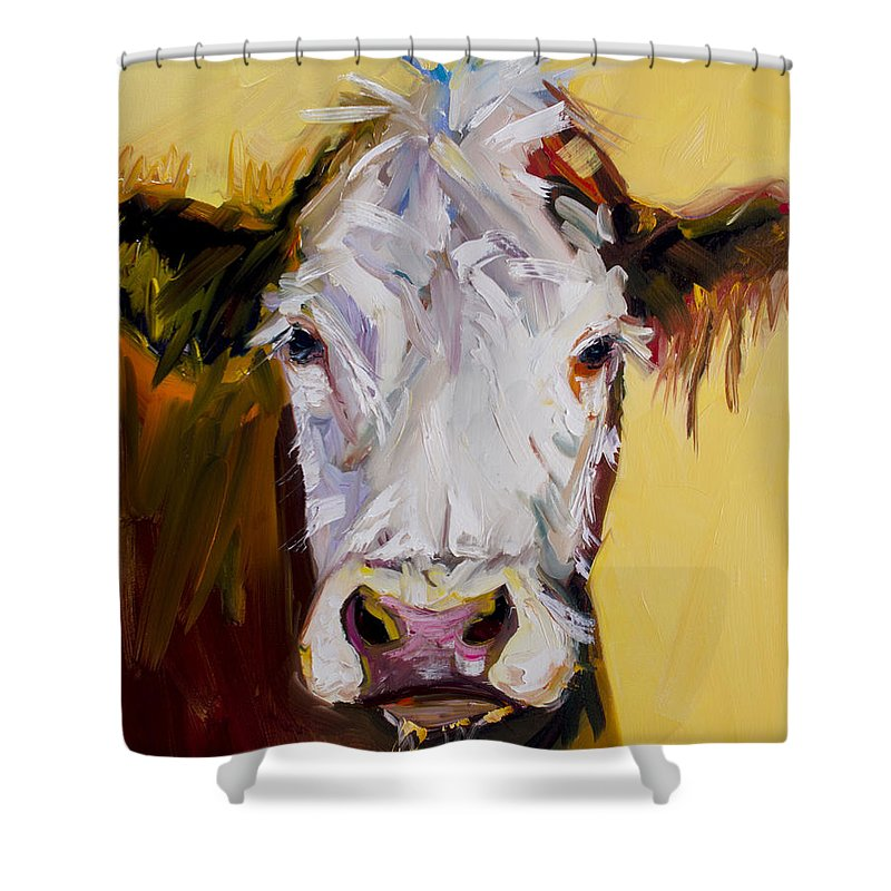 Cow Shower Curtain featuring the painting White One by Diane Whitehead