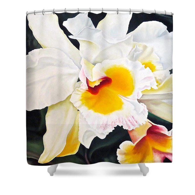 Orchid Shower Curtain featuring the painting White Orchid by Janice Petrella-Walsh