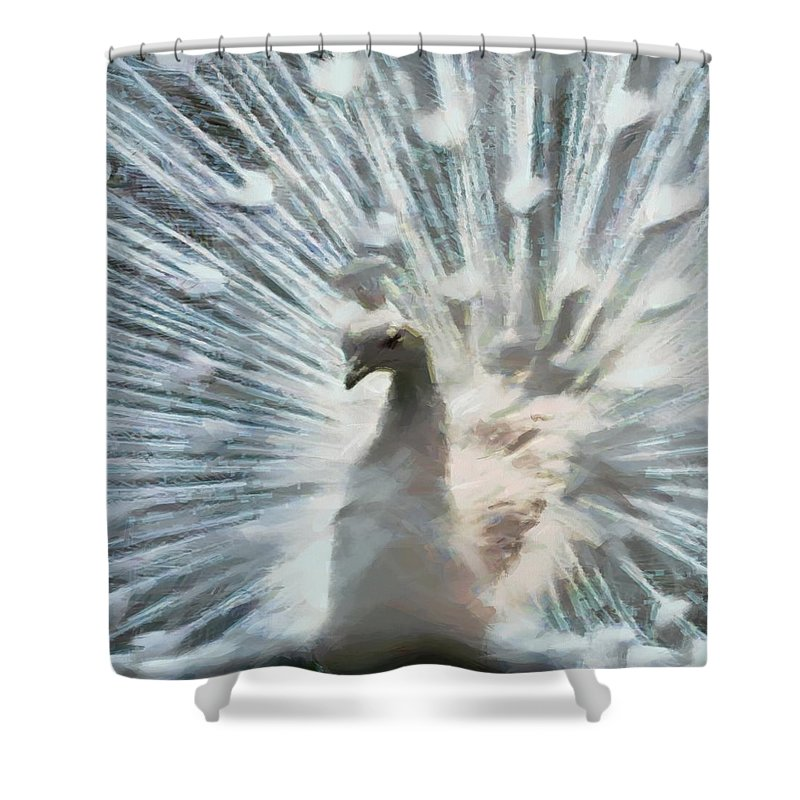 Bird Shower Curtain featuring the digital art White Peacock by Charmaine Zoe
