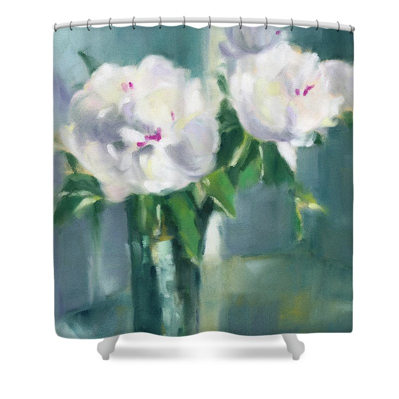 White Peony Shower Curtains