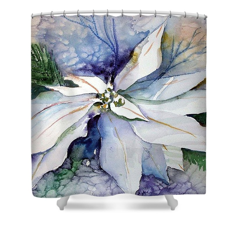 Floral Shower Curtain featuring the painting White Poinsettia by Mindy Newman