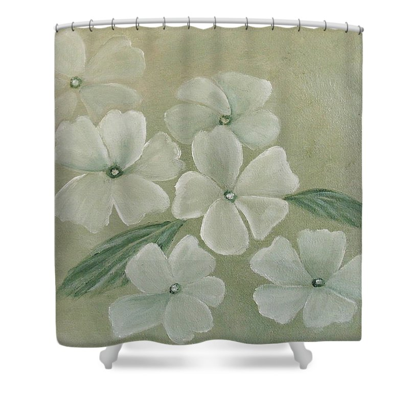 Primula Shower Curtain featuring the painting White Primula by Angeles M Pomata