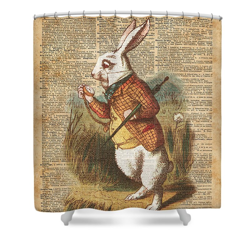 White Rabbit Alice In Wonderland Vintage Art Shower Curtain For Sale By Anna W