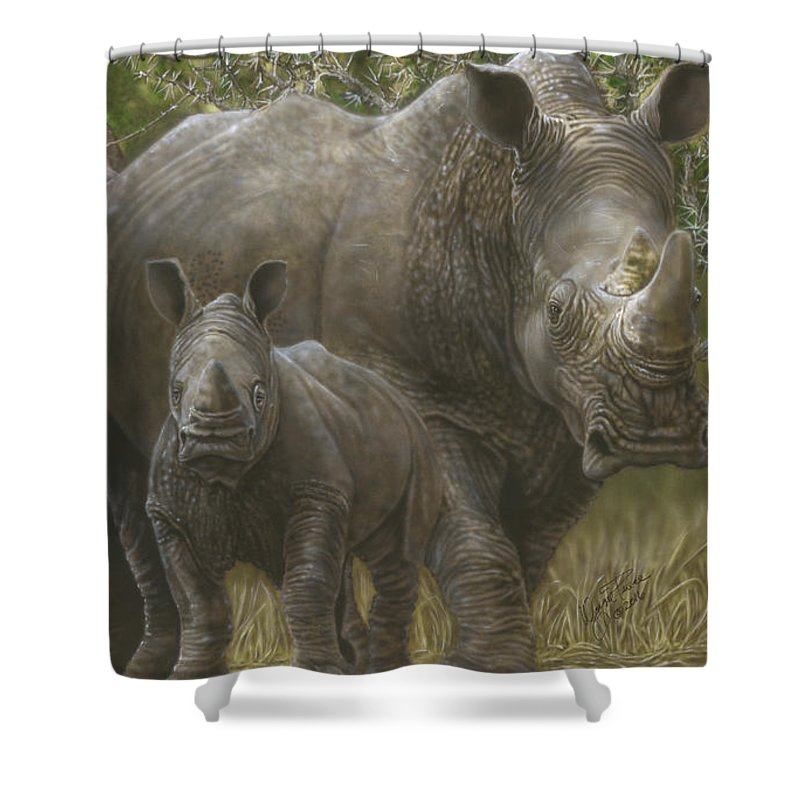 Shower Curtain featuring the painting White Rhino Family - The Face That Only A Mother Could Love by Wayne Pruse
