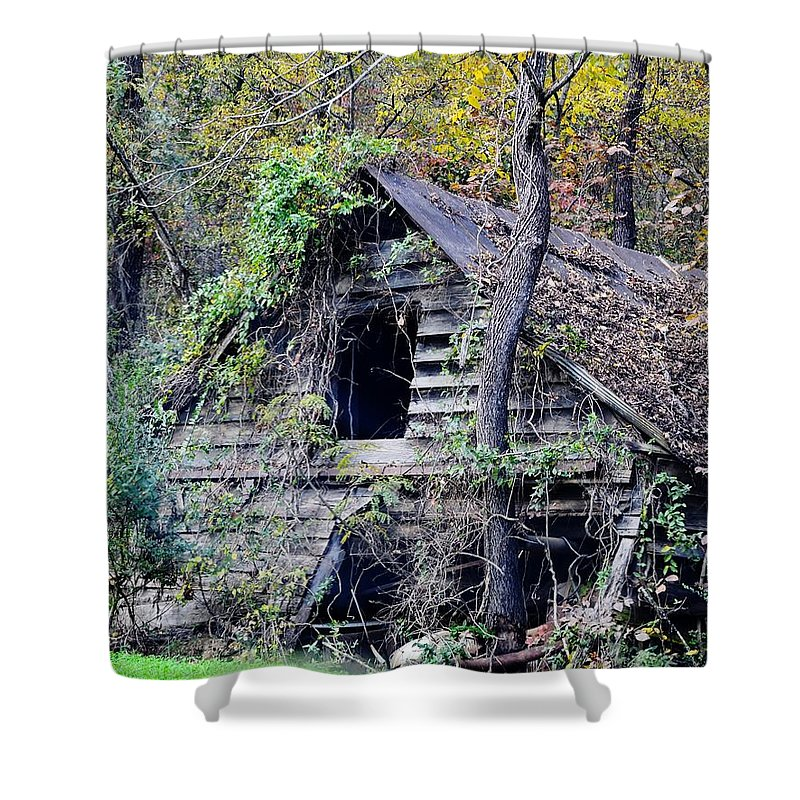 Dilapidated Building Shower Curtain featuring the photograph White River House by Eileen Brymer