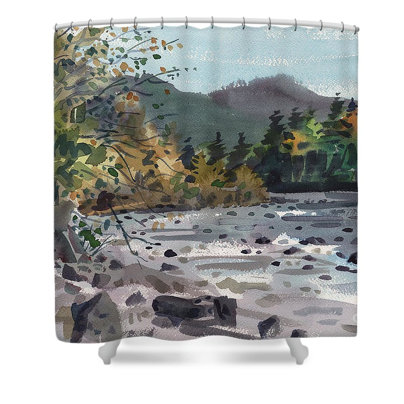 White River Shower Curtain featuring the painting White River In Autumn by Donald Maier