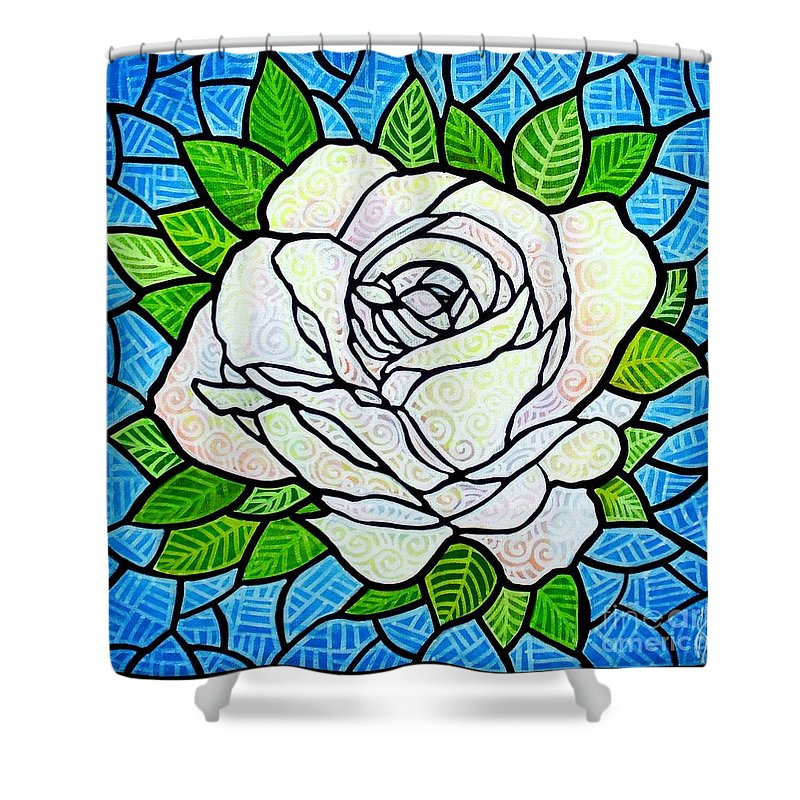 White Shower Curtain featuring the painting White Rose by Jim Harris