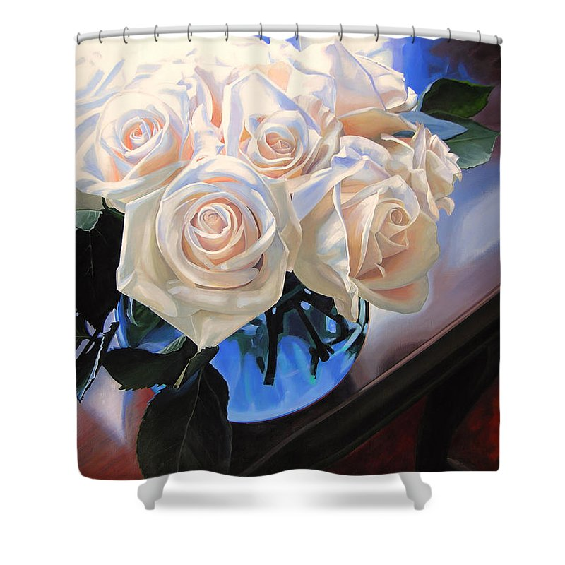 Roses Shower Curtain featuring the painting White Roses by Rebecca Zook