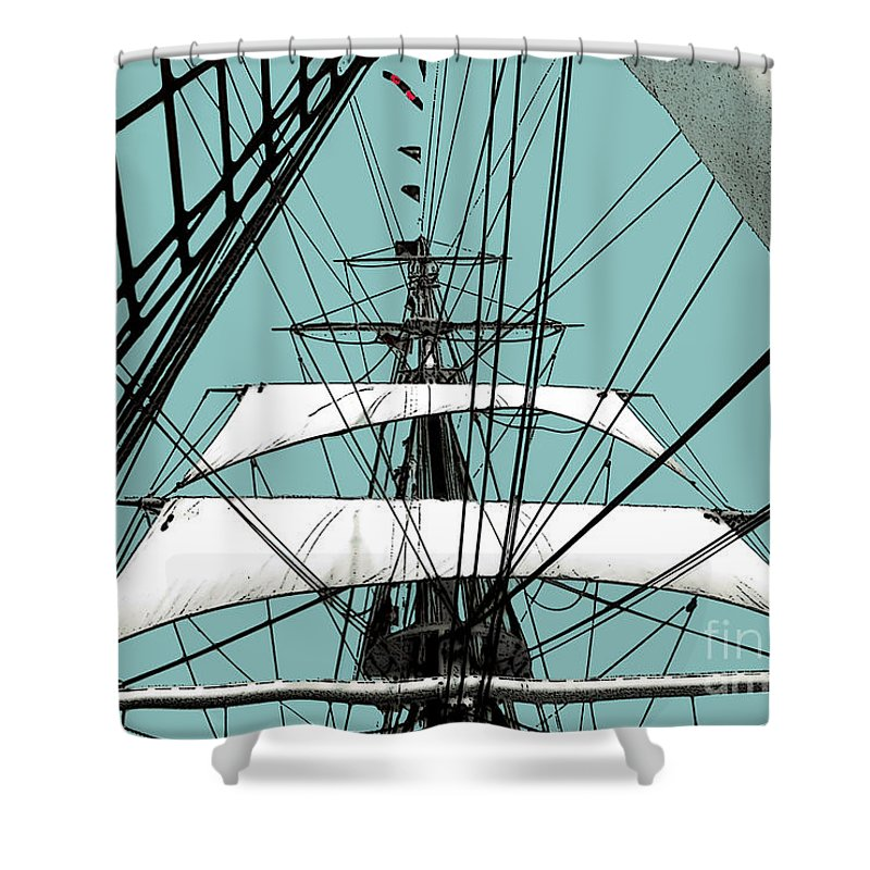 Boat Shower Curtain featuring the photograph White Sails At Dawn by Linda Parker