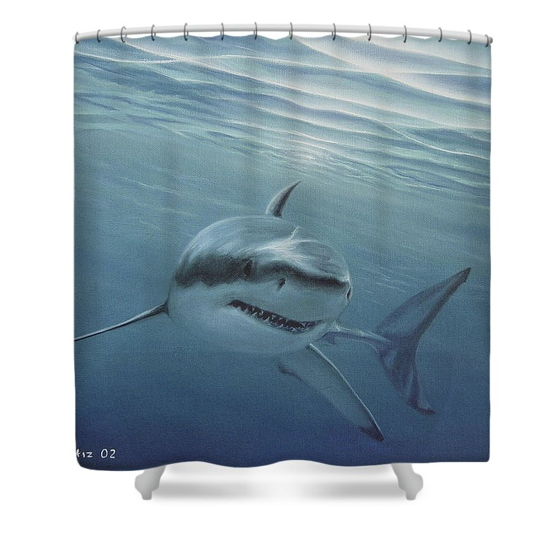Shark Shower Curtain featuring the painting White Shark by Angel Ortiz