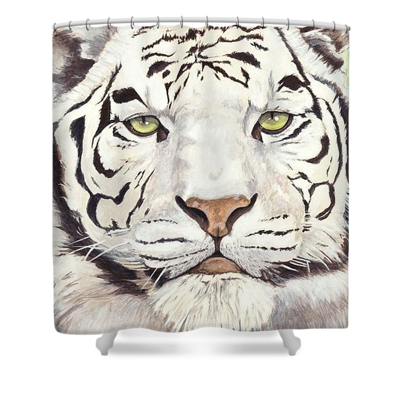 Tiger Shower Curtain featuring the painting White Silence by Shawn Stallings