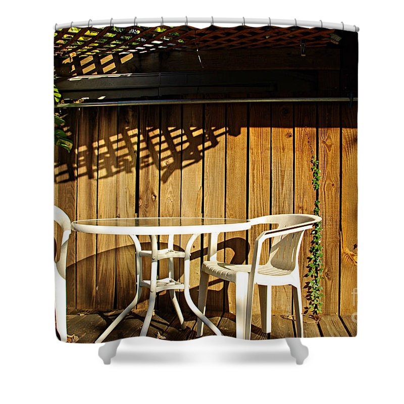 White Shower Curtain featuring the photograph White table with chairs by Zal Latzkovich