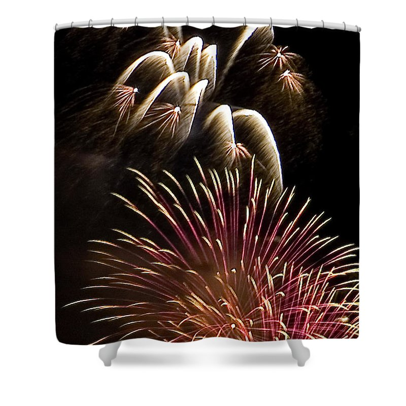 Fireworks Shower Curtain featuring the photograph White Trails by David Patterson