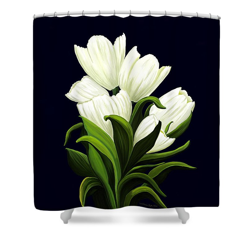 Mixed Media Shower Curtain featuring the painting White Tulips by Patricia Griffin Brett