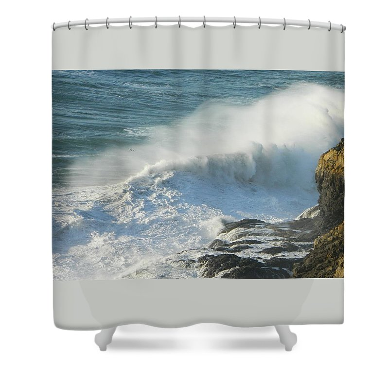 Oregon Shower Curtain featuring the photograph White Wave Sprays by Gallery Of Hope