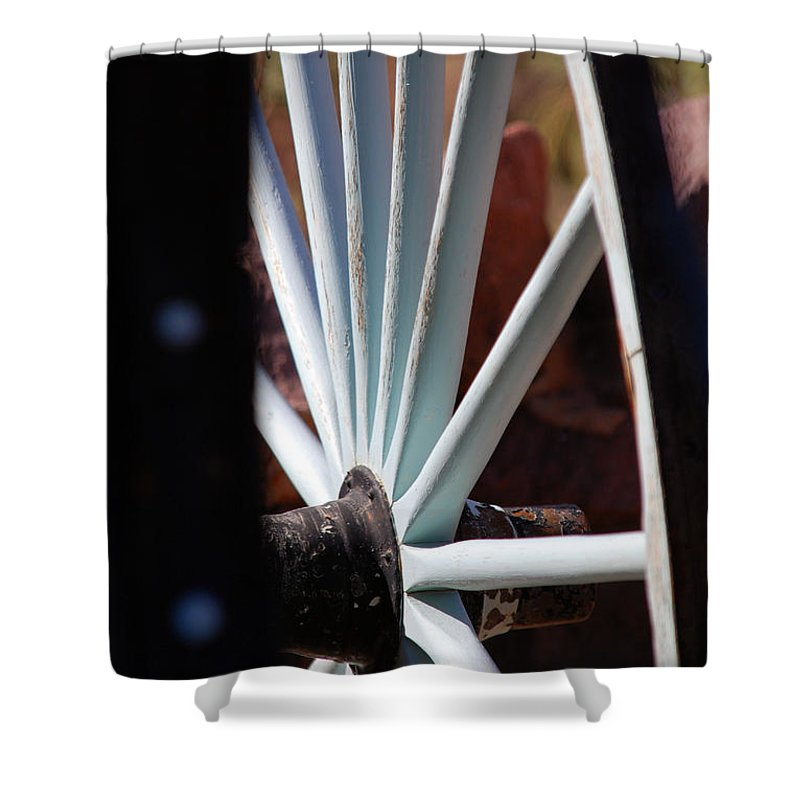 Wheel Shower Curtain featuring the photograph White Wheels Are Rolling by Susanne Van Hulst