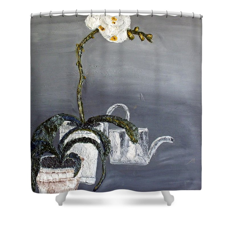 Still Life Paintings Shower Curtain featuring the painting White Wild Orchid by Leslye Miller
