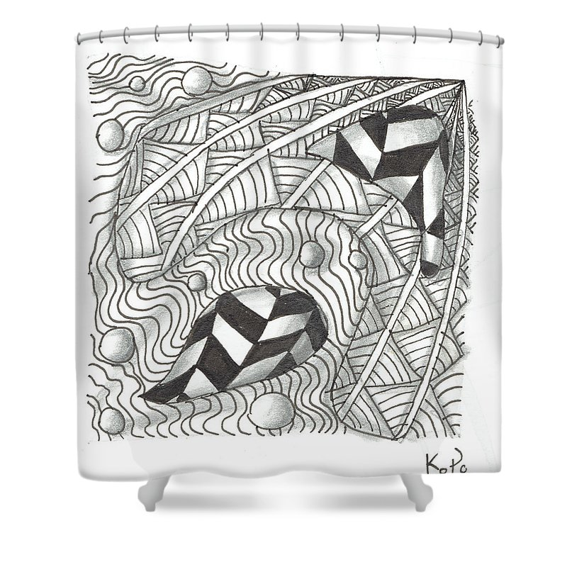 Zentangle Shower Curtain featuring the mixed media White Zen 18 by Kitty Perkins