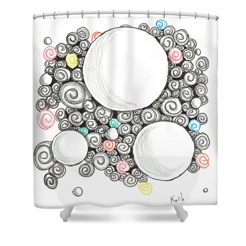 Zentangle Shower Curtain featuring the mixed media White Zen 22 by Kitty Perkins