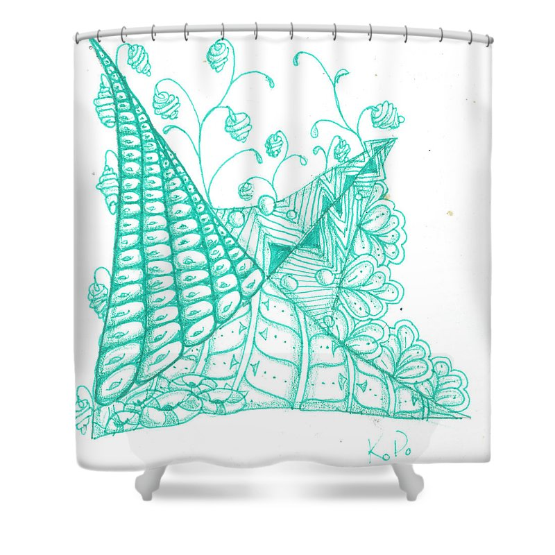 Abstract Shower Curtain featuring the mixed media White Zen 26 by Kitty Perkins