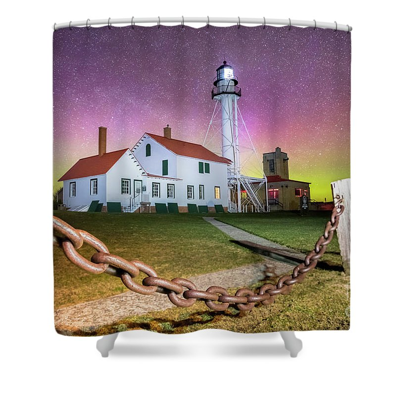 Lighthouse Whitefish Point Shower Curtain featuring the photograph Whitefish Point Lighthouse  Northern Lights -0524 by Norris Seward