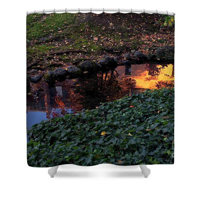 Leaves Shower Curtain featuring the photograph Whiteman College Reflection by Karen Goodwin