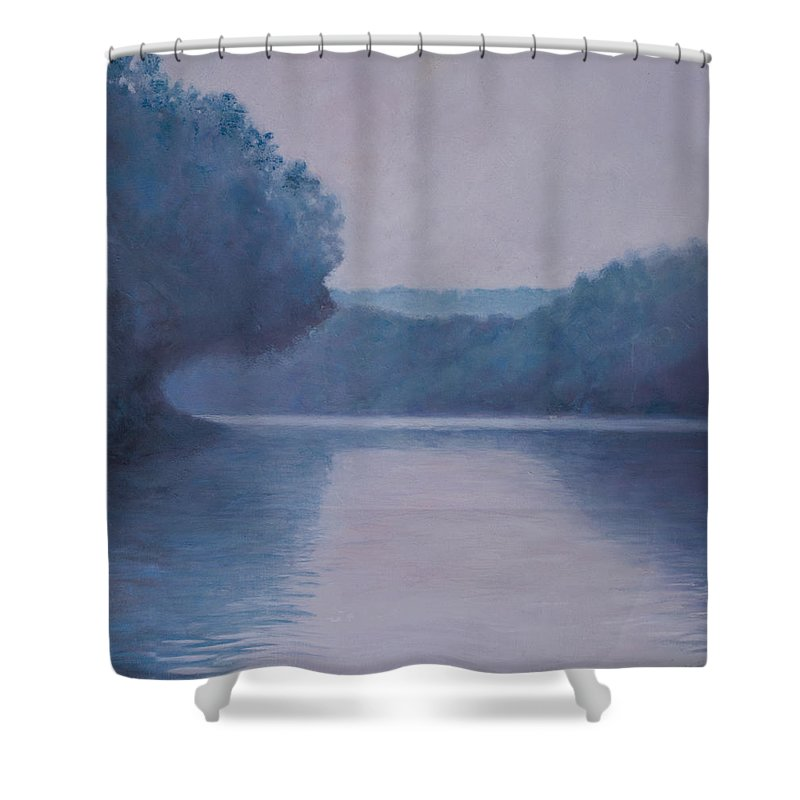 Impressionist Shower Curtain featuring the painting Whites Ferry by Don Perino