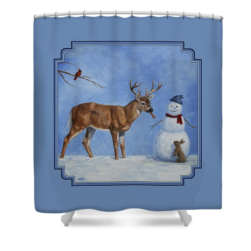 Christmas Shower Curtain featuring the painting Whitetail Deer And Snowman - Whose Carrot? by Crista Forest