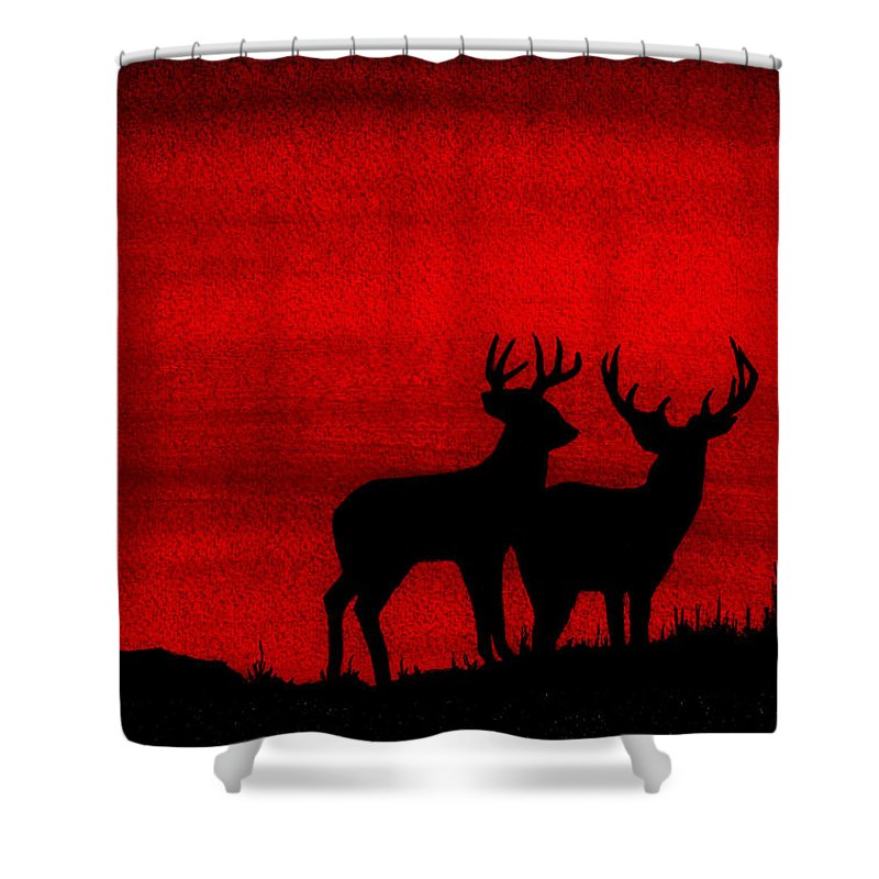 Deer Shower Curtain Featuring The Painting Whitetail At Sunset By Michael Vigliotti
