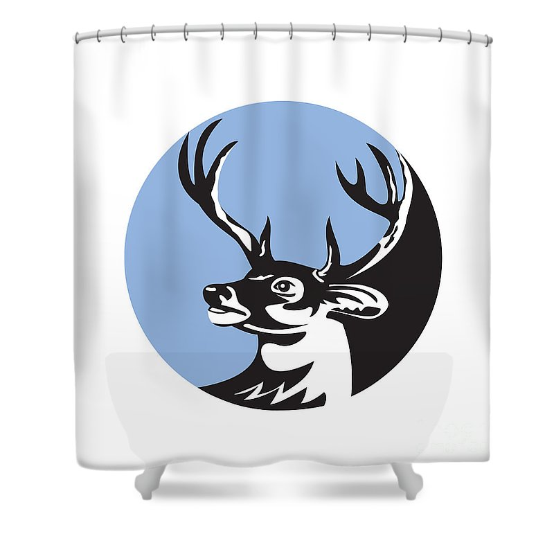 Whitetail Deer Shower Curtain featuring the digital art Whitetail Deer Buck Head Circle Retro by Aloysius Patrimonio
