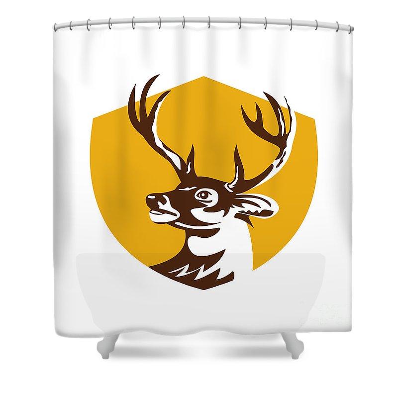 Whitetail Deer Shower Curtain Featuring The Digital Art Buck Head Crest Retro By Aloysius