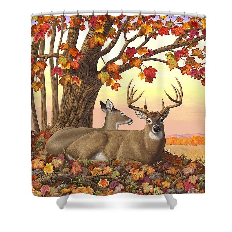 Deer Shower Curtain featuring the digital art Whitetail Deer - Hilltop Retreat by Crista Forest
