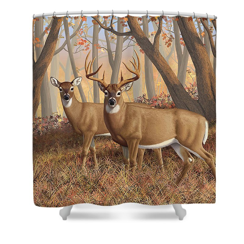 Deers Shower Curtain featuring the painting Whitetail Deer Painting - Fall Flame by Crista Forest
