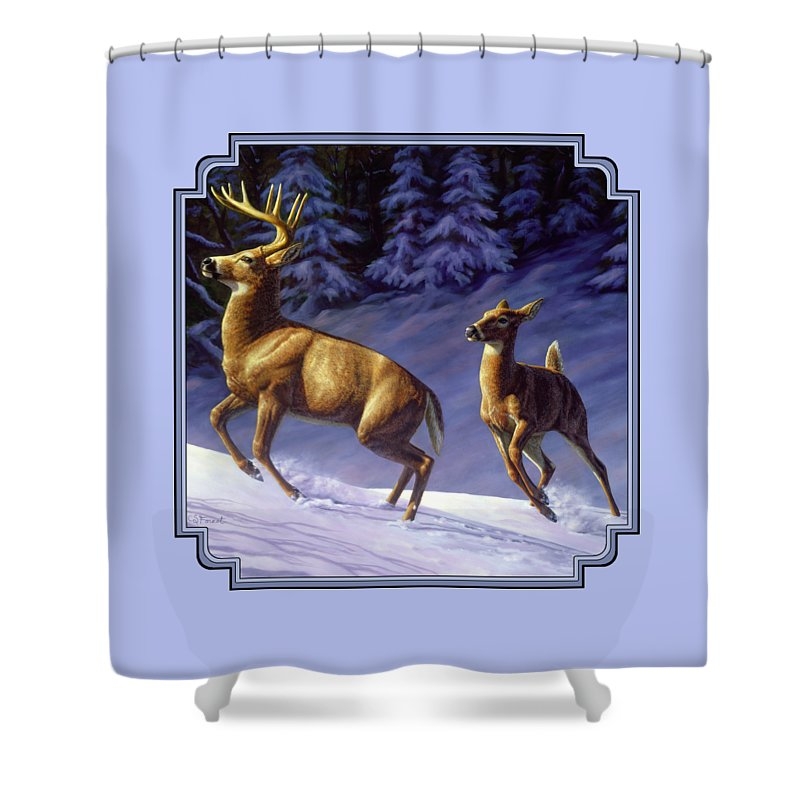 Deer Shower Curtain featuring the painting Whitetail Deer Painting - Startled by Crista Forest