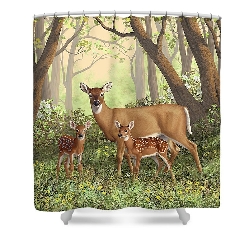 Whitetail Deer Shower Curtain featuring the painting Whitetail Doe And Fawns - Mom's Little Spring Blossoms by Crista Forest