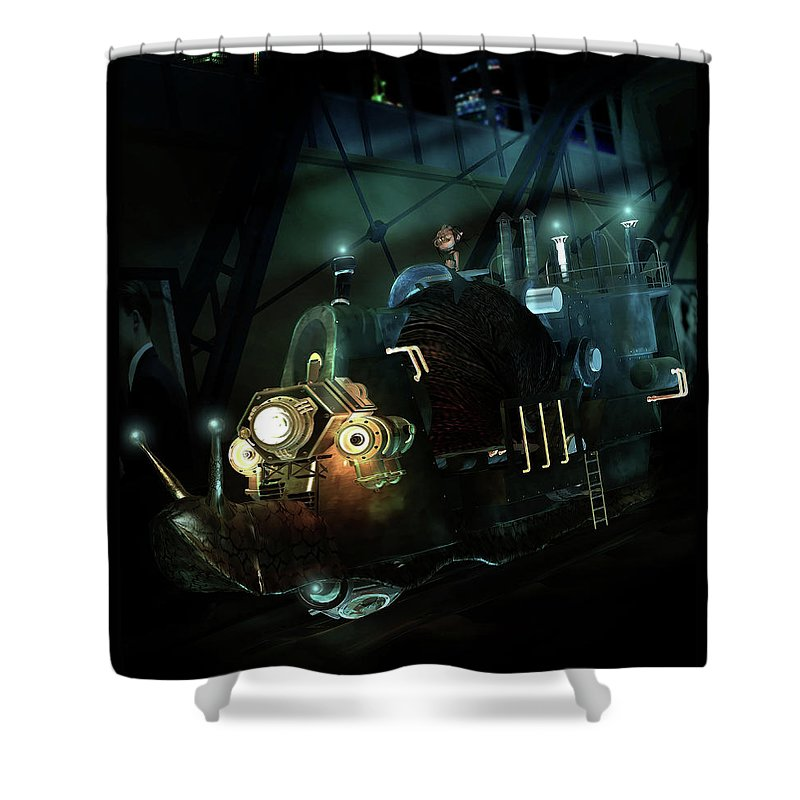 Snail Shower Curtain featuring the digital art Who Knew Part Two by Karen Koski