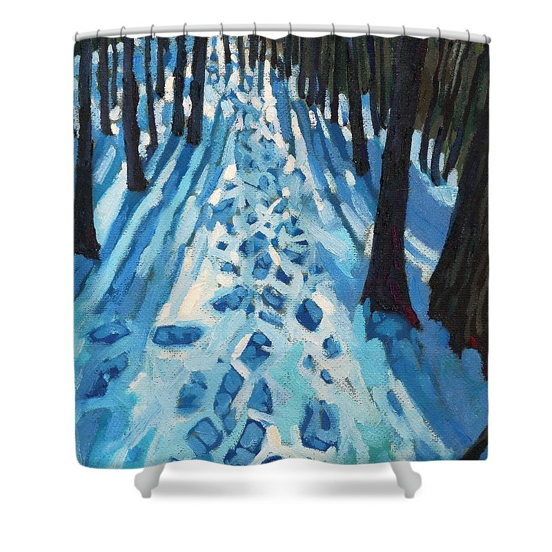 2064 Shower Curtain Featuring The Painting Who Made These Tracks By Phil Chadwick