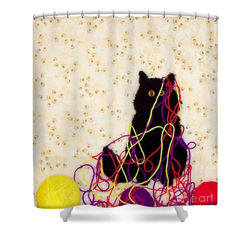 Cat Shower Curtain featuring the tapestry - textile Who Me by Loretta Alvarado