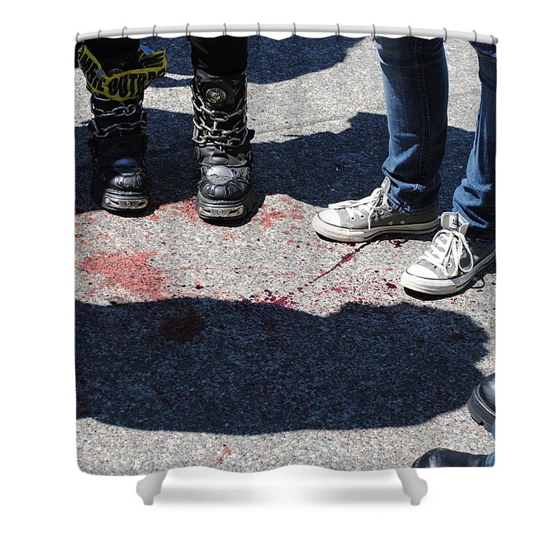 Zombie Shower Curtain featuring the photograph Whodunnit? by Katy Granger