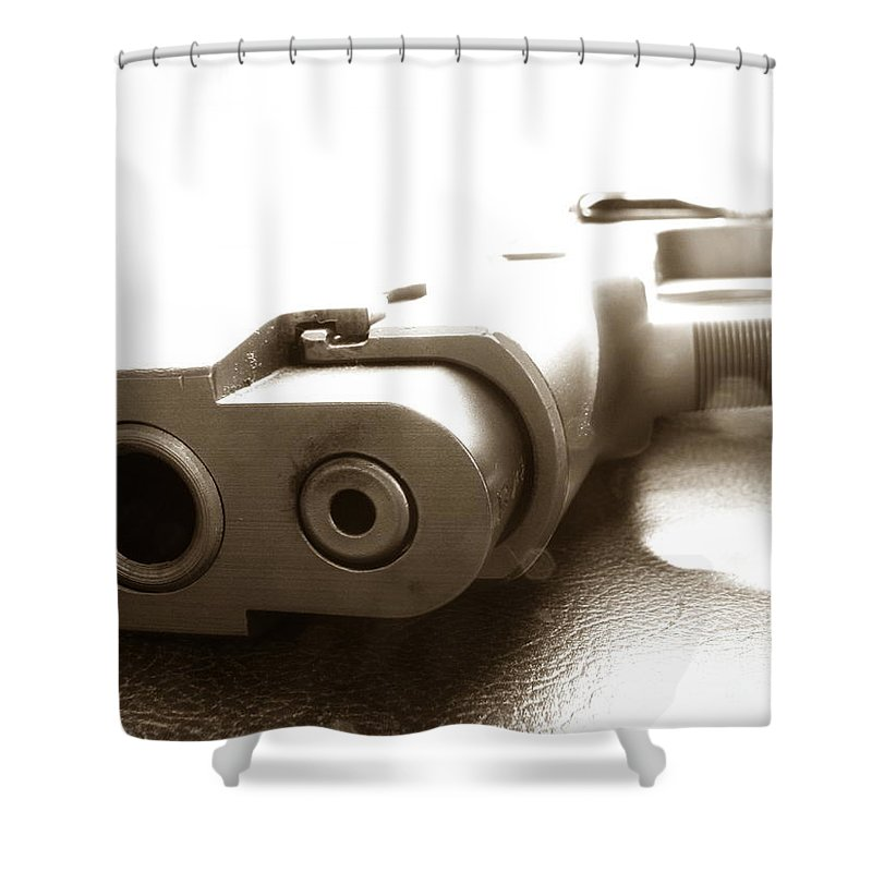 Gun Shower Curtain featuring the photograph Why by Amanda Barcon