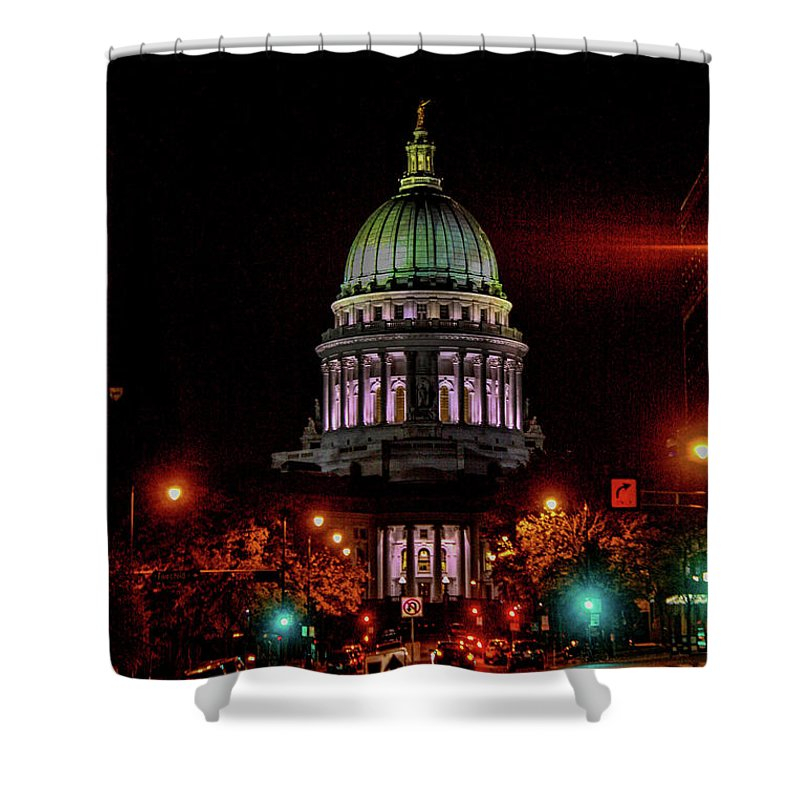 Madison Shower Curtain featuring the photograph Wi State Capitol From West Washington Ave by Tommy Anderson