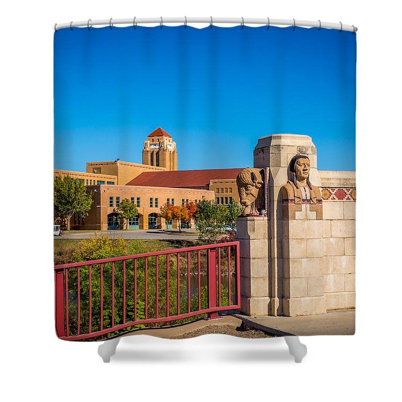 Architecture Shower Curtain featuring the photograph Wichita Bridge #1 by Jon Manjeot