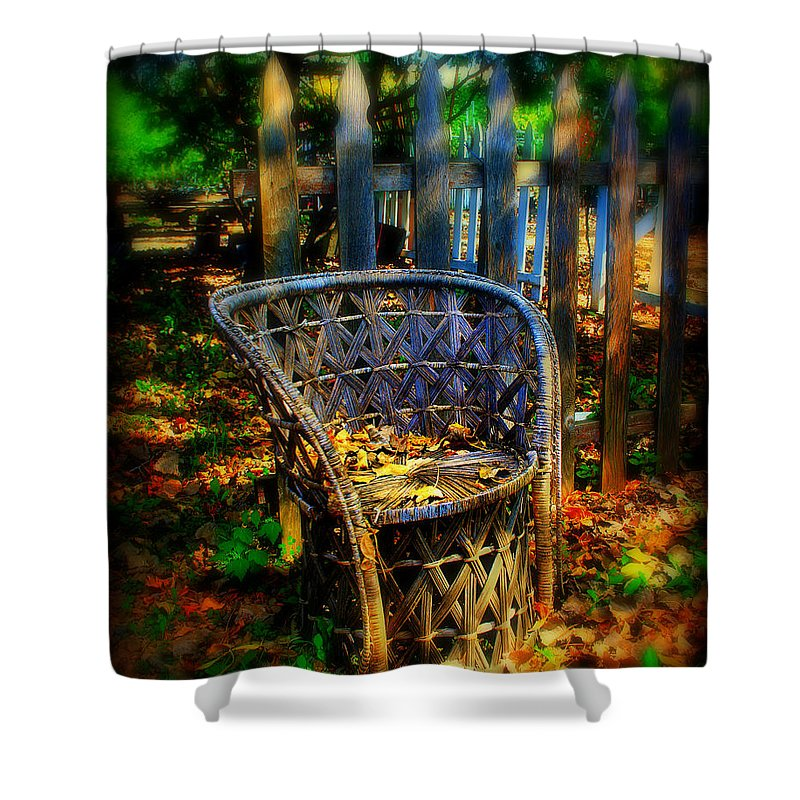 Chair Shower Curtain featuring the photograph Wicker Chair by Perry Webster