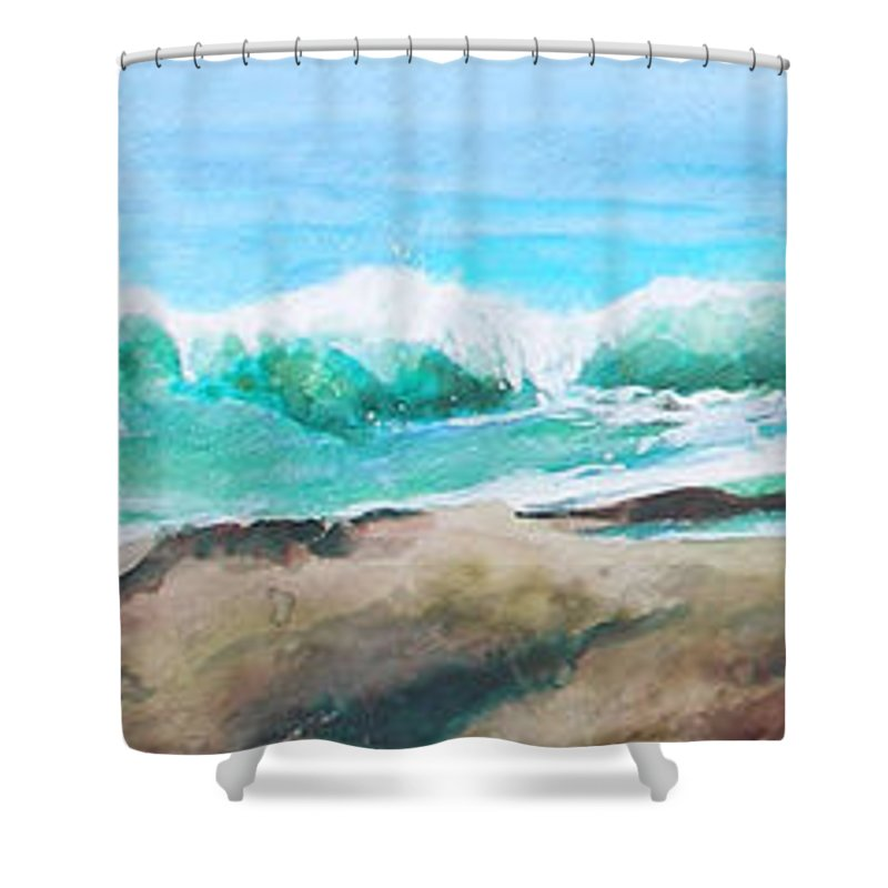 Seascape Shower Curtain featuring the painting Widescreen Wave by Ken Meyer