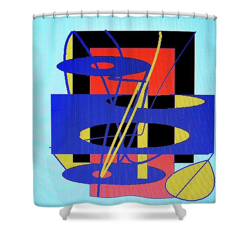 Abstract Shower Curtain featuring the digital art Widget World by Ian MacDonald